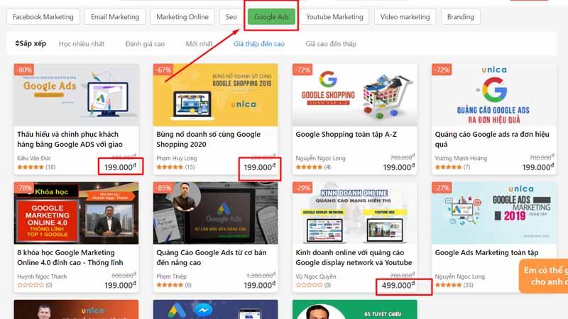 giá khoá học Google Ads
